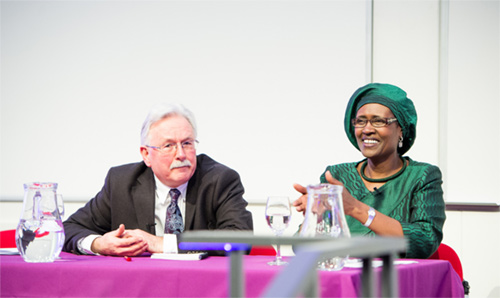 Prof David Hulme and Winnie Byanyima, Executive Director of Oxfam International