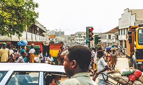 Crowded market streets in Accra