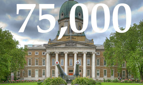 Imperial War Museum London with a pair of canons in front of the building. The number 75,000 is overlaid in white text.