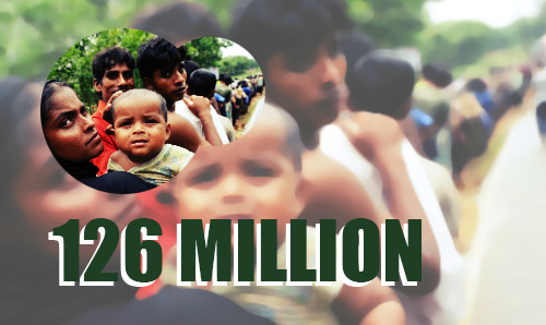 Line of Bangladeshi people in a street. The number 126 million is overlaid in green text.